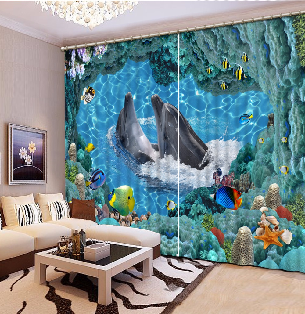 Us 61 5 59 Off Modern Sheer Curtains New Design Dolphin Window Kitchen Curtains For Bedroom Living Room The Underwater World Kids Room Curtain In