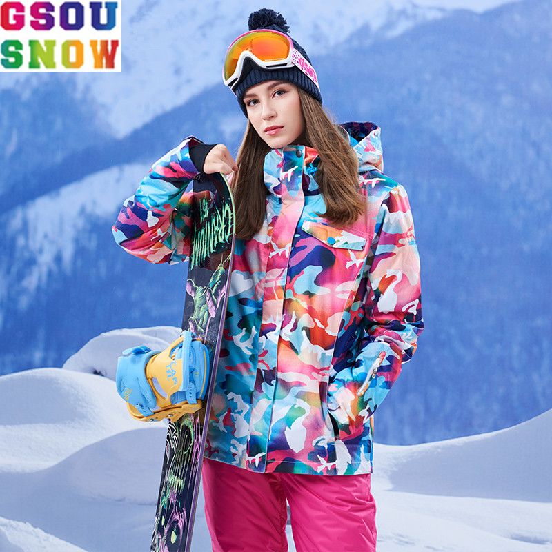 GSOU SNOW Brand Ski Jacket Women Colorful Snowboard Jacket Winter Waterproof Ski Wear Female Skiing Snowboarding Cheap Snow Coat gsou snow waterproof ski jacket women snowboard jacket winter cheap ski suit outdoor skiing snowboarding camping sport clothing