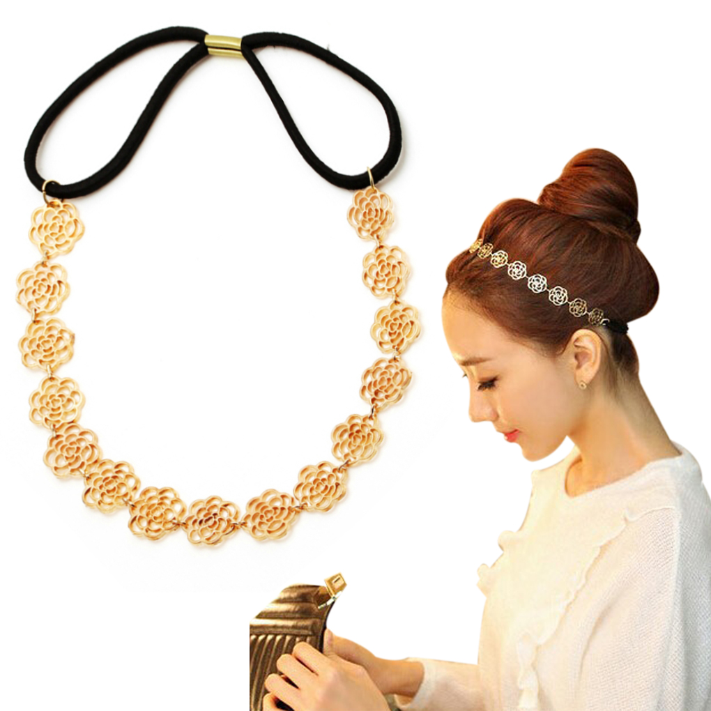 2019 Fashion Women Girl Head Decoration Gold Rose Flower Elasticity Hairbands / Hair Wear/ Headband