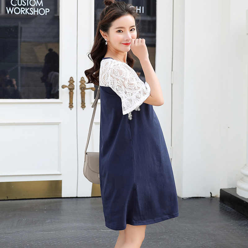 ... Maternity Elegant Dress Lace Patchwork Cute Pregnant Clothes for Young  Women Lady Office Dresses Loose Plus ... b65c389371c4