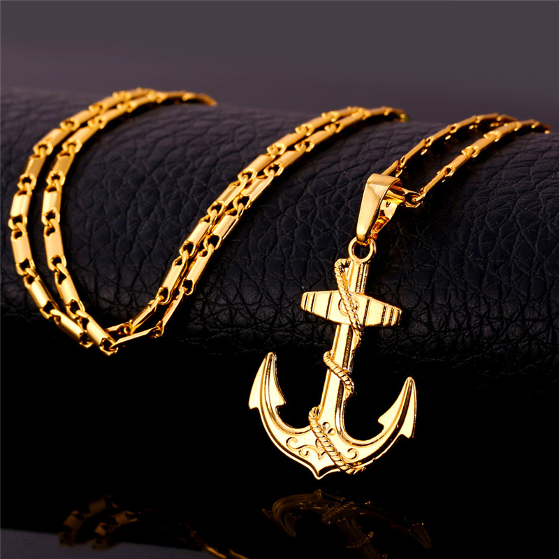 U7 vintage navy anchor pendant necklace women men jewelry 18k u7 vintage navy anchor pendant necklace women men jewelry 18k real goldplatinum plated european viking jewelry wholesale p626 in pendant necklaces from aloadofball Choice Image