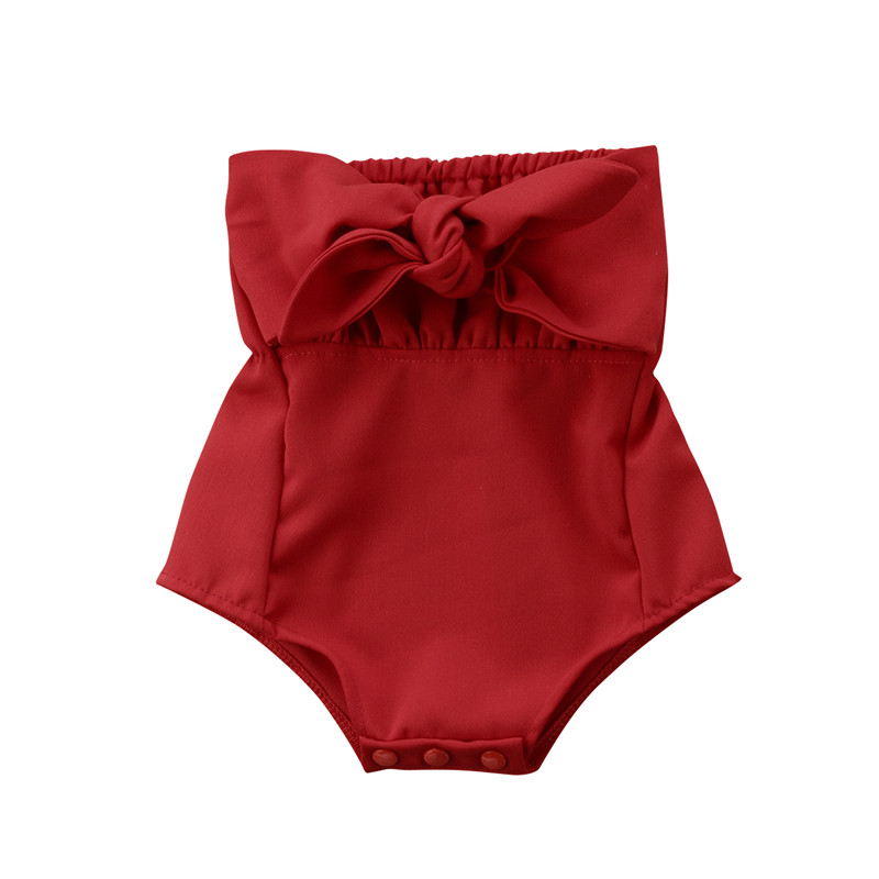 Fashion Summer Baby Girls Bodysuit Sleeveless Off Shoulder Jumpsuit Clothing Toddler Infant Baby Girls Clothes Red Bowknot 0-24M