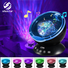 купить Ocean Wave Starry Sky Aurora LED Night Light Projector Luminaria Novelty Lamp USB Lamp Nightlight Illusion For Baby Children онлайн