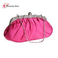 2016 Women Pleated Handbags Floral Rhinestone Frame Bags Evening Wedding Bridesmaid Brides Clutch Bags Ladies Silk Purses bolsas