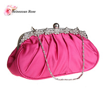 2017 Women Pleated Evening Clutch Bags Rhinestone Party Wedding Bags Ladies Clutch Purses Small Shoulder Messenger