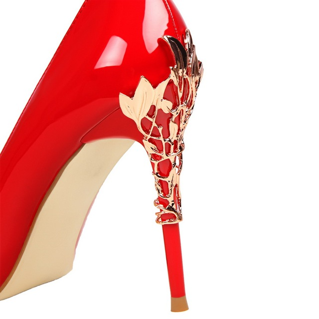 Brand Spring Fashion Women Sexy High Heels Pumps Designer Metal Pointed Toe Heels Gold White Wedding Shoes Female Prom shoes