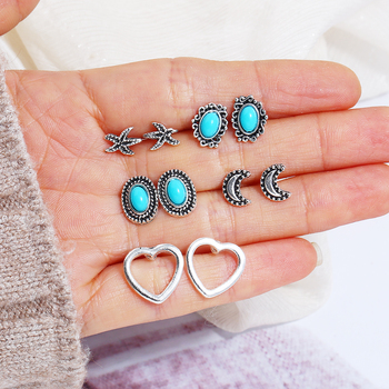 XIYANIKE 10 Pairs/Set Women Moon Love Starfish Blue Gem Bohemian Earring Stud Earrings for Women Boucle D'oreille Jewelry E1200 image