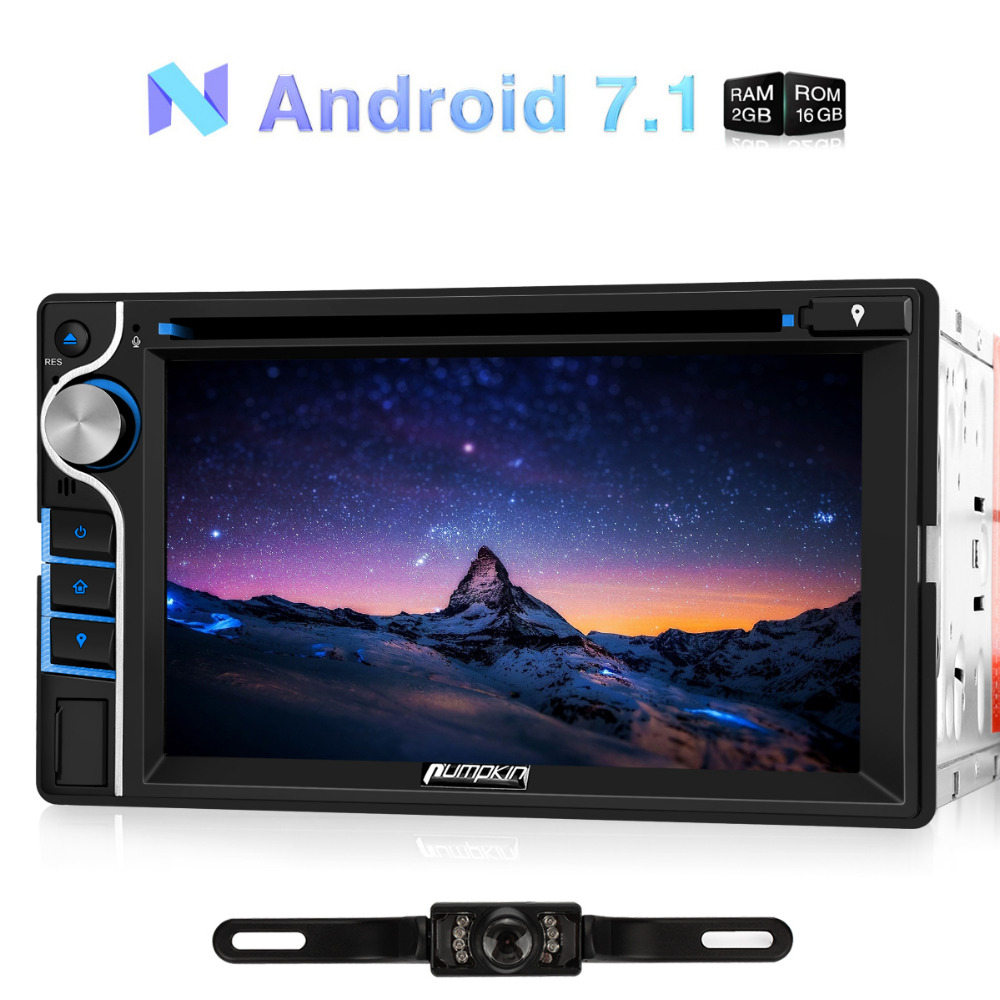 Pumpkin 2 Din 6.2'' Android 7.1 Universal Car DVD Player Quad-Core GPS Navigation Car Stereo FM Rds Radio DAB+ Wifi 3G Headunit android 8 0 2 din 7 universal car radio no dvd player gps navigation 4gb ram car stereo fm rds wifi 4g dab headunit