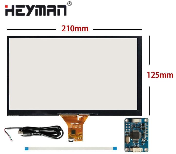 9 polegada 210mm * 125mm toque capacitivo digitador raspberry pi tablet pc navegação painel da tela de toque de vidro + usb placa motorista