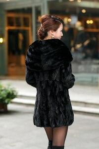 Image 5 - Natural Real Piece mink fur coat  with hood Womens Genuine Mink Fur Jacket Outwear