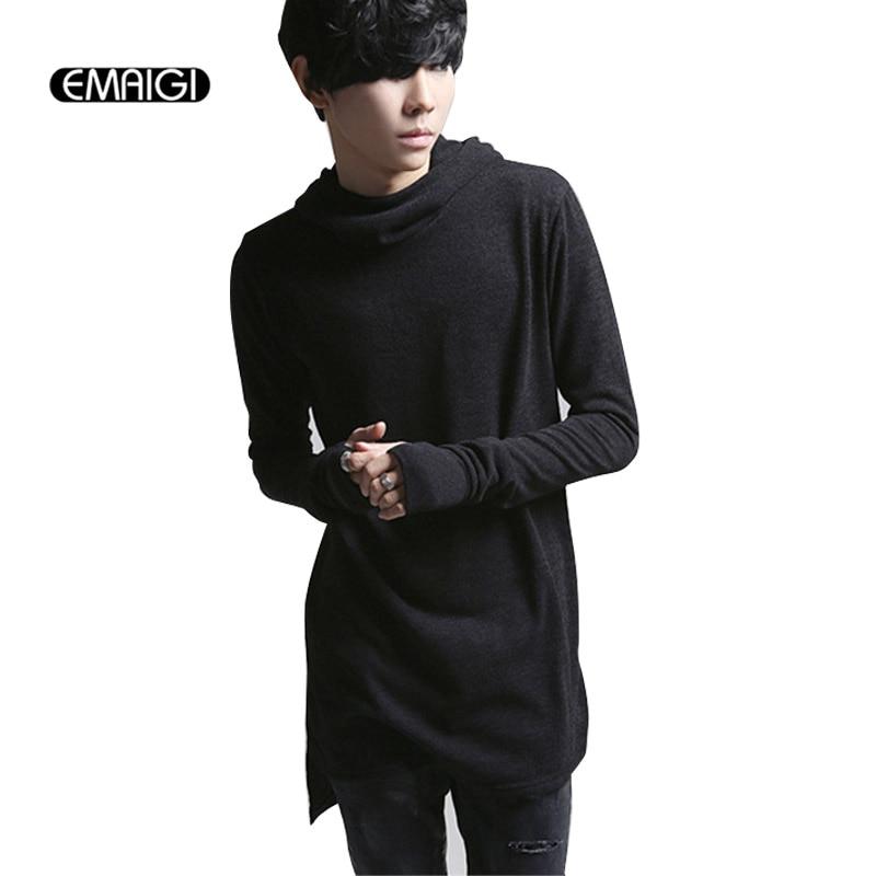 New men hooded T shirt male long sleeve tee shirts street fashion slim fit t shirt