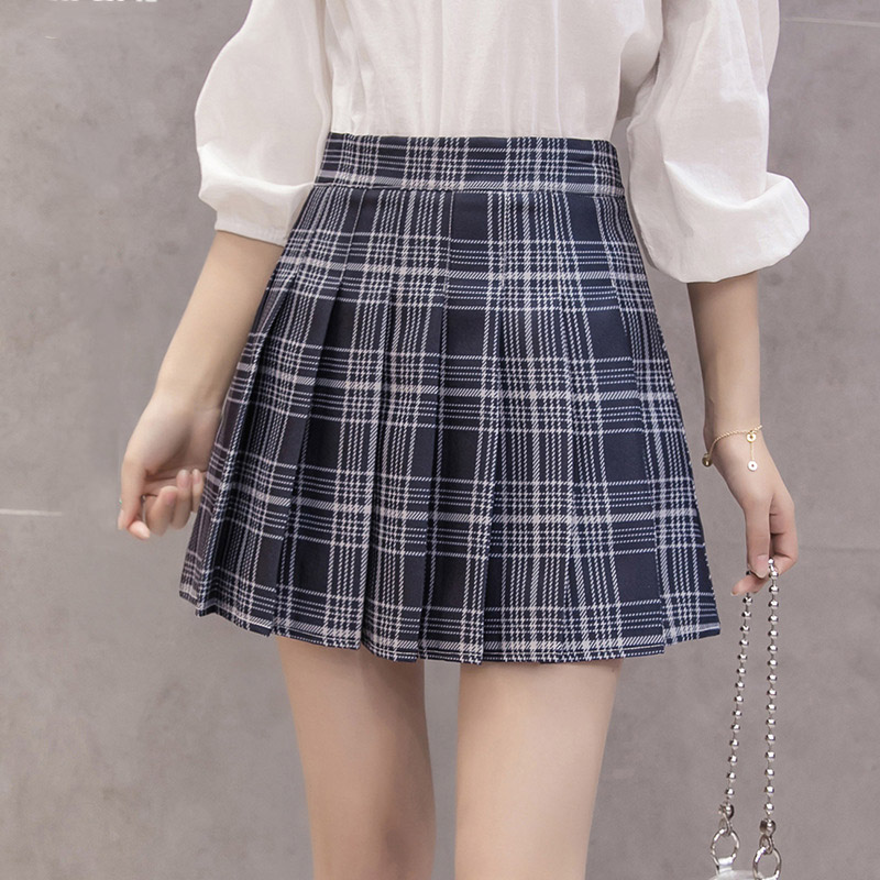 Image 4 - Fashion Korean Summer High Waist Skirt Women School Girl Pleated Skirts With Pants Sexy Red Zipper Mini Plaid Skirt Faldas-in Skirts from Women's Clothing