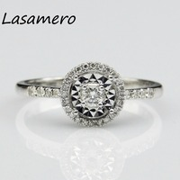 LASAMERO Ring For Women 0 1 Ct Crown Ring Certified Diamond Ring Accents 14k Gold Real