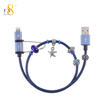 D8 Mfi Certified 2 in 1 Cable for iPhone XS MAX XR X 8 7 6 Beads Bracelet Data Cable Leather IOS Micro USB and android For iPad