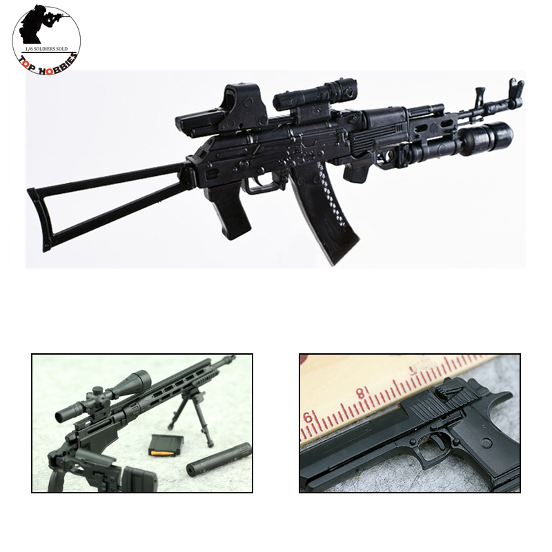 1/6 Scale Gun Model Accessories Toy Guns Plastic Set 4D Assembled AK74 Desert eagle Remington Rifle Sniper 12 Inch SoldierFigure