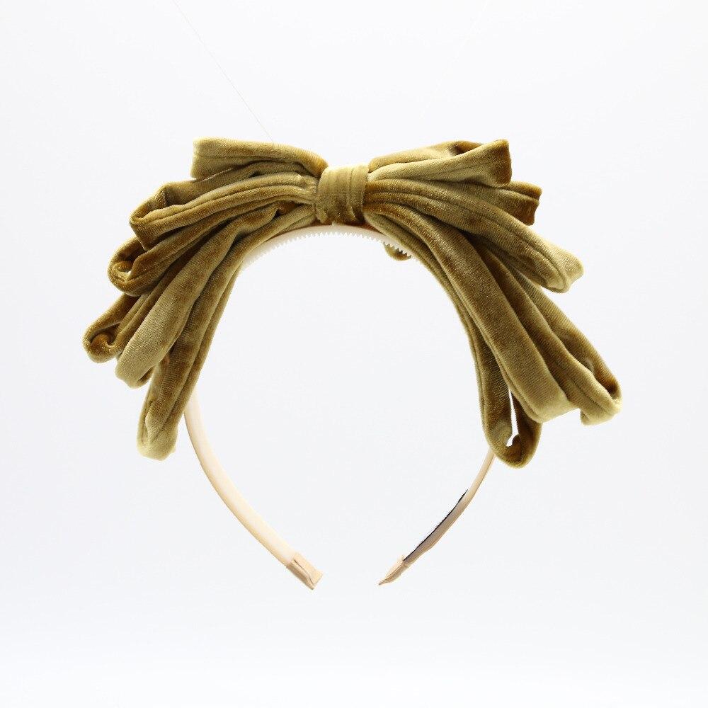 2018 nueva moda rico terciopelo Hairband del arco accesorios del pelo de la manera con banda de plástico