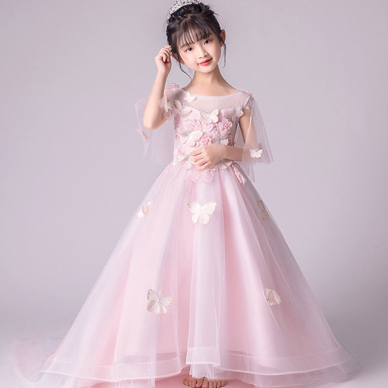 Girls Mesh Princess Dress Wedding Birthday Party Long Trailing Dress Kids Elegant Princess Lace Flowers Dresses party girl dress 2017 new kids girls trailing dress with bow knot child birthday surprises girls wedding princess costume 2 12t