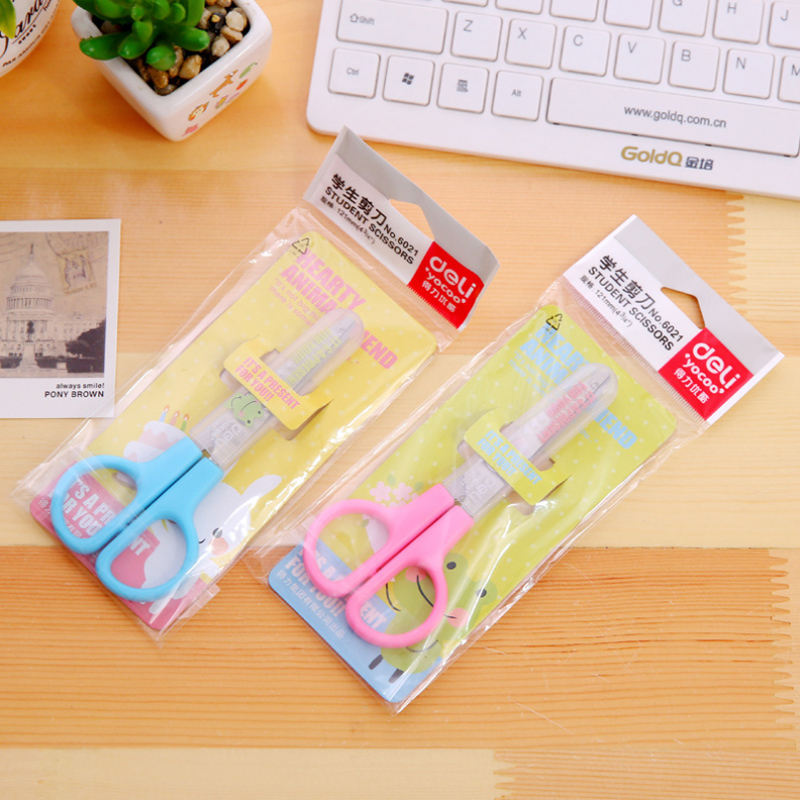 1 Pcs Candy Color Little Artist Scissor Scrapbooking Craft Paper Scissor With Protector For Kids Student Stationery