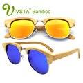 IVSTA Semi Sin Rebordes de Los Hombres gafas de Sol Polarizadas Gafas de Media Llanta Marco De Bambú Natural Para Hombre Hecho A Mano Espejo Dropshipping retro VB3016