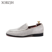 XOBZJH Men Shoes Italian Luxury Red Bottom Shoes Genuine Leather Rhinestone Wedding White Loafers Designer High Quality Man Shoe