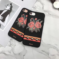 Luxury Matte Silicone 3D Flower Printing Mobile Phone Cases For IPhone7 7Plus 6 6S 6Plus Coque