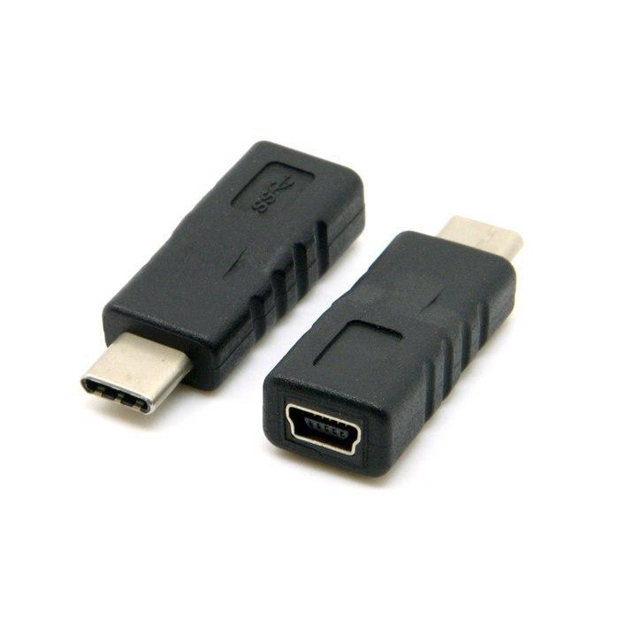 USB-C USB 3.1 Type C Connecteur Mâle à Mini USB 2.0 Broches Femelle Adaptateur de Données, par China Post