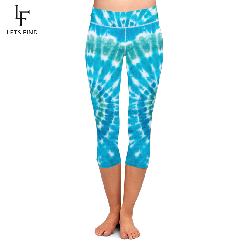 LETSFIND New Women Stretch Capri Pants Blue Tie-dye Print High Waist Mid-Calf Casual Fitness Leggings Plus Size