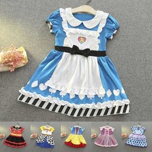 Girls Anna Elsa Sofia Snow White Princess Dress Kids Summer Cotton Costume Mickey Belle Rapunzel Children Cosplay