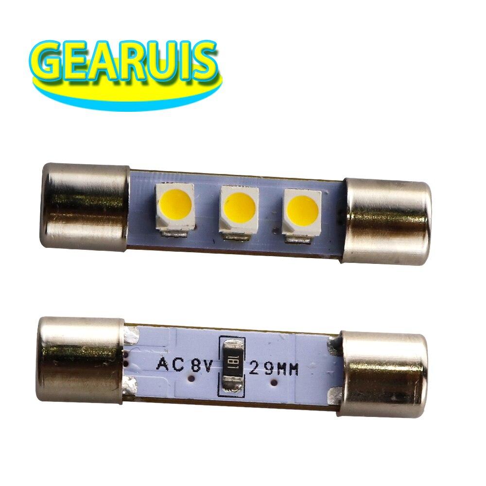 10pcs AC 8V Marantz Receiver Reading Light T6.3 Flood Festoon C5W 29mm 31mm 3 SMD 1210 3528 LED License Plate Light 8V