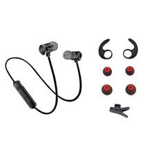 Magnetic Bluetooth Stereo Bass Dalam Telinga Earphone Nirkabel Olahraga Menjalankan Handsfree Headphone Dengan Mikrofon Untuk Headset Telepon