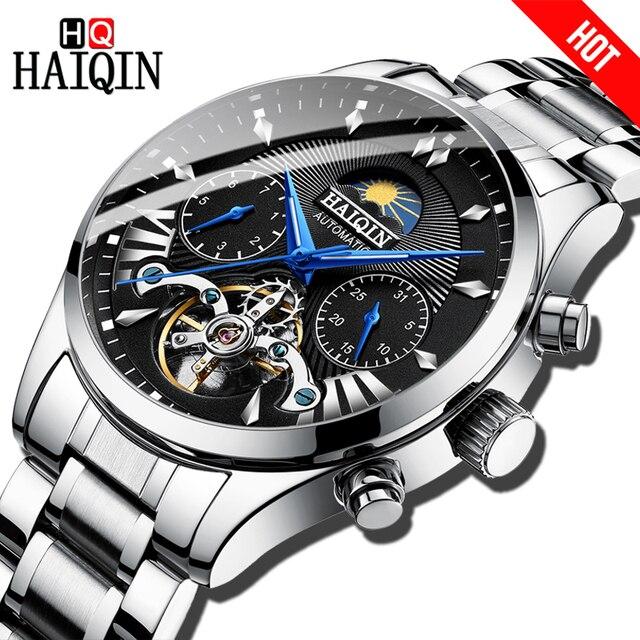 HAIQIN homens/mens relógios top marca de luxo automático/mecânico/homens relógio do esporte relógio de pulso dos homens de luxo reloj turbilhão de hombre