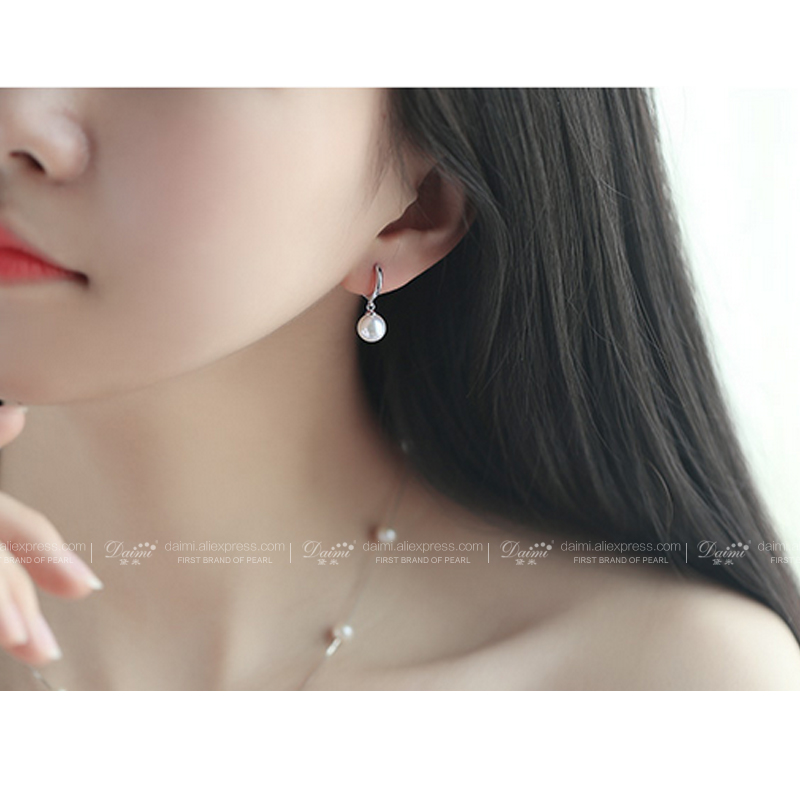 Daimi Pearl Earrings Lever Back 925 Silver Real 7 8mm Round Freshwater Drop Earring Dangle Darlene In From Jewelry Accessories