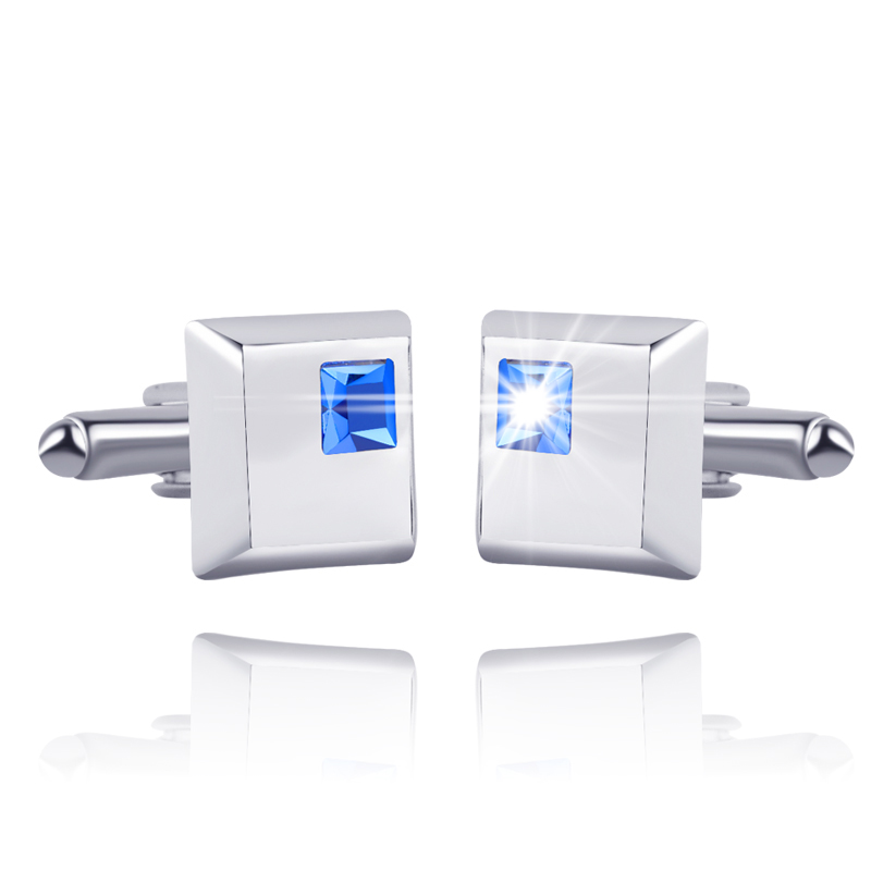 Crystal Cufflinks For Men In Square Shape Rhinestone Cuff Button Silver Plated Luxury French Cufflinks For Men Wedding&Business
