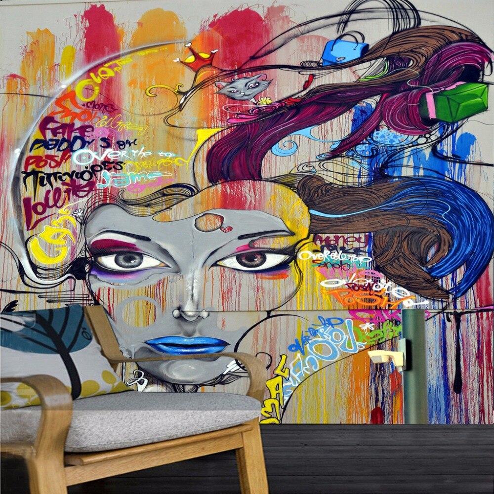 7 53 58 De Réduction Papier Peint Personnalisé Peintures Murales 3d Beauté Graffiti Art Moderne Peinture Murale Salon Ktv Bar Toile De Fond Papier