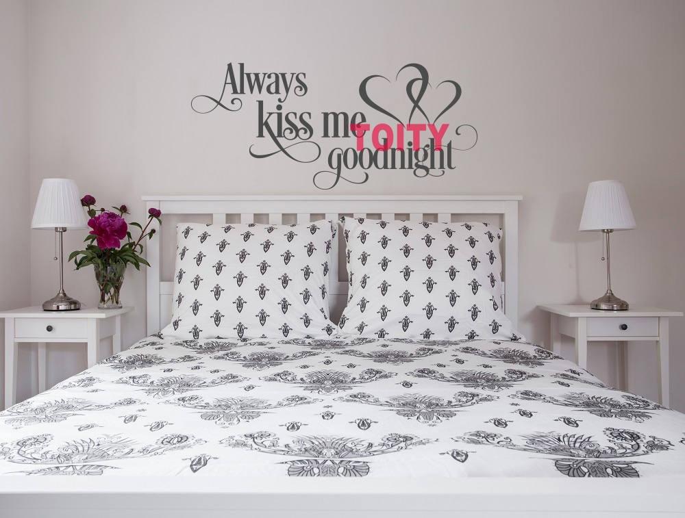 Always Kiss Me Goodnight Bedroom Art Vinyl Wall Decor