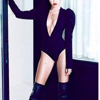 Маленький черный пузырь с длинным рукавом сексуальный v образный вырез цельный костюм пузырь с длинным рукавом Ультра Низкий сексуальный v
