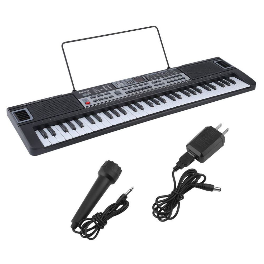 61 Key Music Key Board Children Electronic Organ Teaching Learning Electronic Piano With Music Note Stand US Plug 11 key electronic music box piano toy red 3 x aa