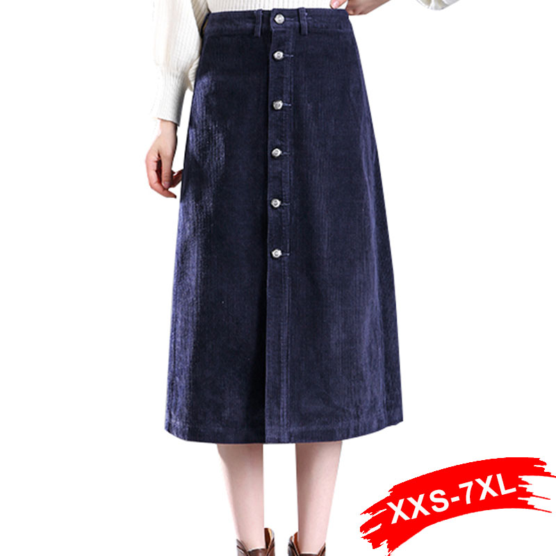 Plus Size 2018 New Button Corduroy Gray Pencil Skirts 6Xl 7Xl Autumn Sexy Long Maxi Skirt For Womens Faldas Mujer
