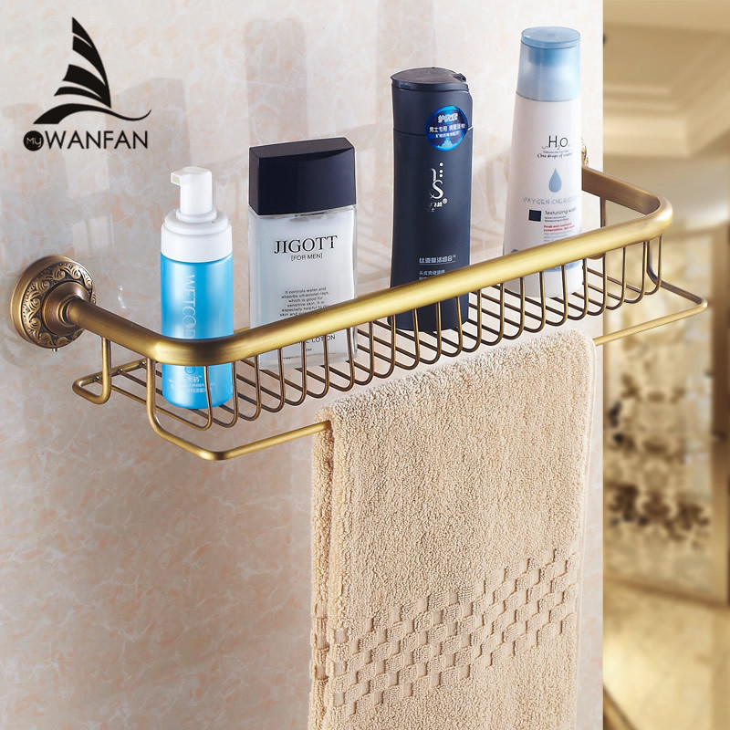 Bathroom Shelves Single-Tier Antique Brass Towel Bar Hooks WC Storage Rack Towel Hanger Fitting Wall Mount Bath Shelf HJ-832 whole brass blackend antique ceramic bath towel rack bathroom towel shelf bathroom towel holder antique black double towel shelf
