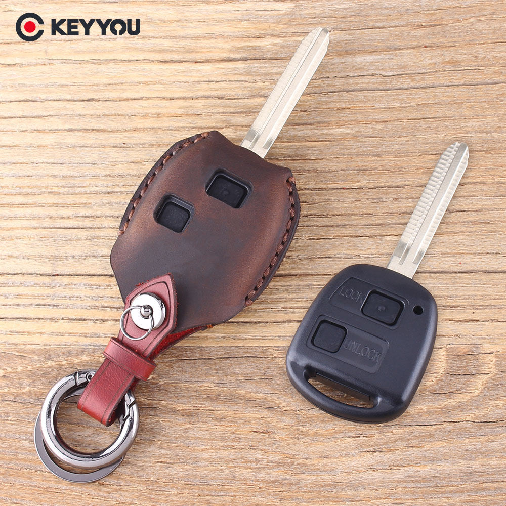 KEYYOU 2 Button Remote Leather Car Key Shell Fob For Toyota Yaris Avalon Camry RAV4 Corolla Echo Key Case Cover keyyou 2 button uncut replacement plastic remote car key shell cae fob blank keys for toyota corolla rav4 toy43 blade