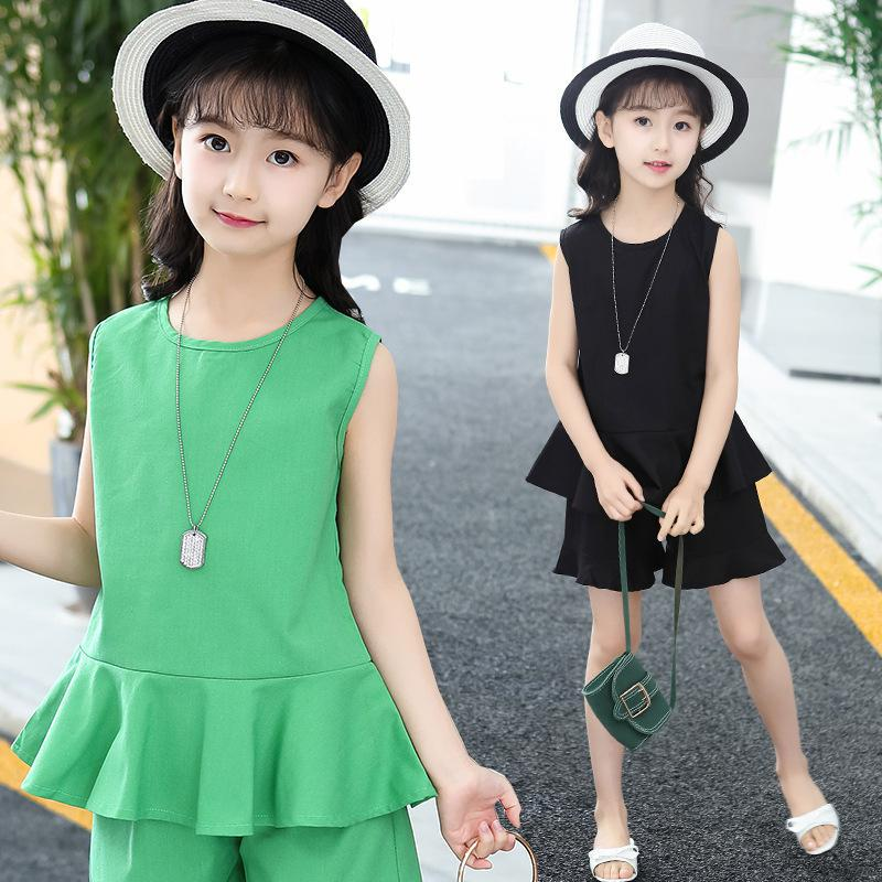 Baby Girls Clothing Sets Kids Summer Sleeveless Tops T-shirts + Shorts 2 Pcs Suits Children Clothes Outfits 4 6 8 10 12 14 Years 2pcs children kids baby girls outfit sets chiffon t shirt tops shorts sleeveless summer outfits suit cute girls clothes sets