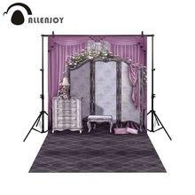 Allenjoy Professional การถ่ายภาพพื้นหลังเสื้อผ้าเครื่องประดับตู้สีชมพูผ้าม่าน Retro ตารางโคมไฟฉากหลัง Photobooth