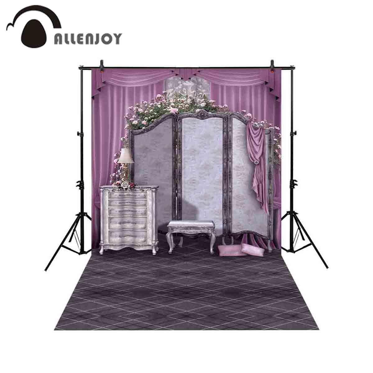 Allenjoy Professional Photography Background Clothes Hanger Jewelry Cabinet Pink Curtain Retro Table Lamp Backdrop Photobooth Camera & Photo Background