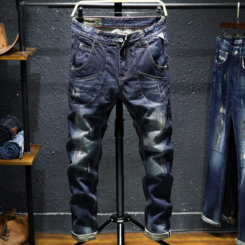 2018 Autumn Winter Fashion Men Jeans Vintage Design Destroyed Ripped Jeans For Men Big Pocket Cargo Pants Slim Fit Punk Jeans