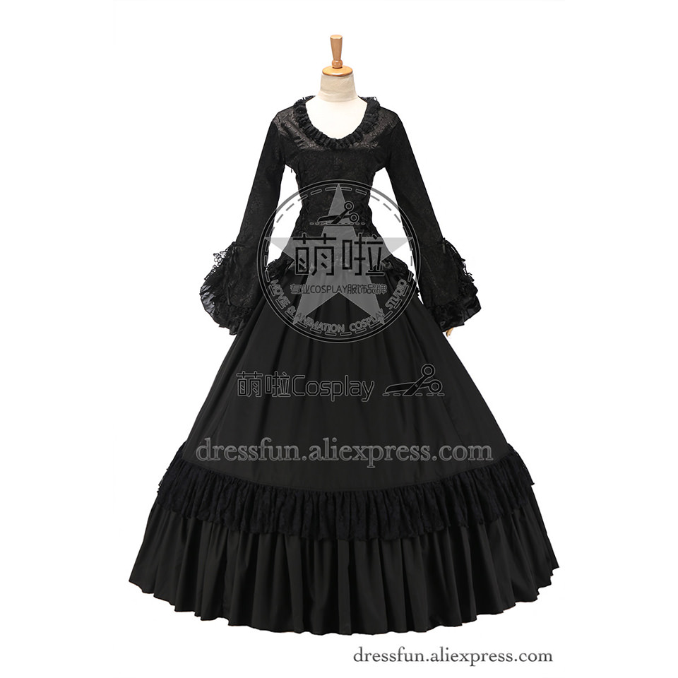 Victorian Classical Gothic Cotton Gown Vintage Wide Sleeve Lolita Dress with Round Collar and Lace Embraced fast shipping