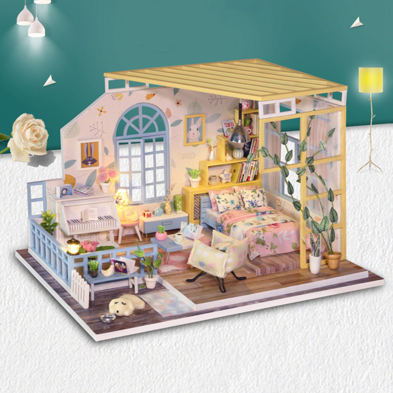 Dolls & Stuffed Toys Doll House Furniture Wooden Toys Diy Miniature Dollhouse Puzzle Assemble 3d Miniaturas Dollhouse Toys For Children Birthday Gift Products Are Sold Without Limitations