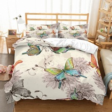 Watercolored Butterfly Bedding Set Floral Design Bed Linen 3 Pieces Microfiber Duvet Cover Fashion Family