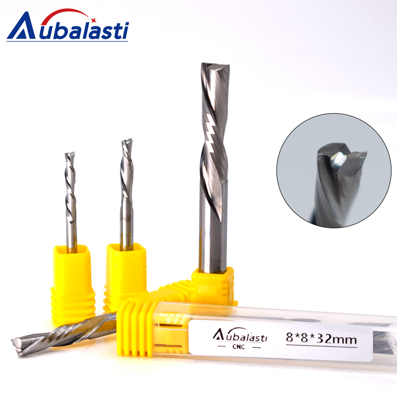 1Pcs UP DOWN Cut Two Flutes Spiral Carbide Mill Tool Cutters For CNC Router Compression Wood End Mill Cutter Bits