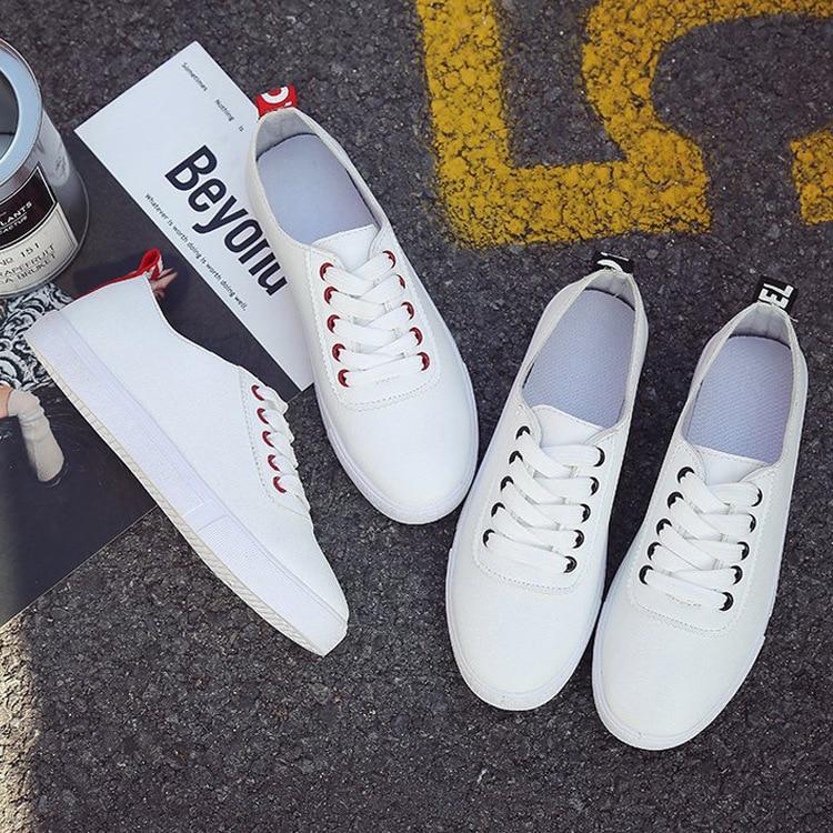 2018 Scarpe Sneakers Lace Board Primavera Up Casual Nuova Tela Nero Estate Bianco piatta Donna Pelle Nero Rosso Donna Donna HqwH4BrX