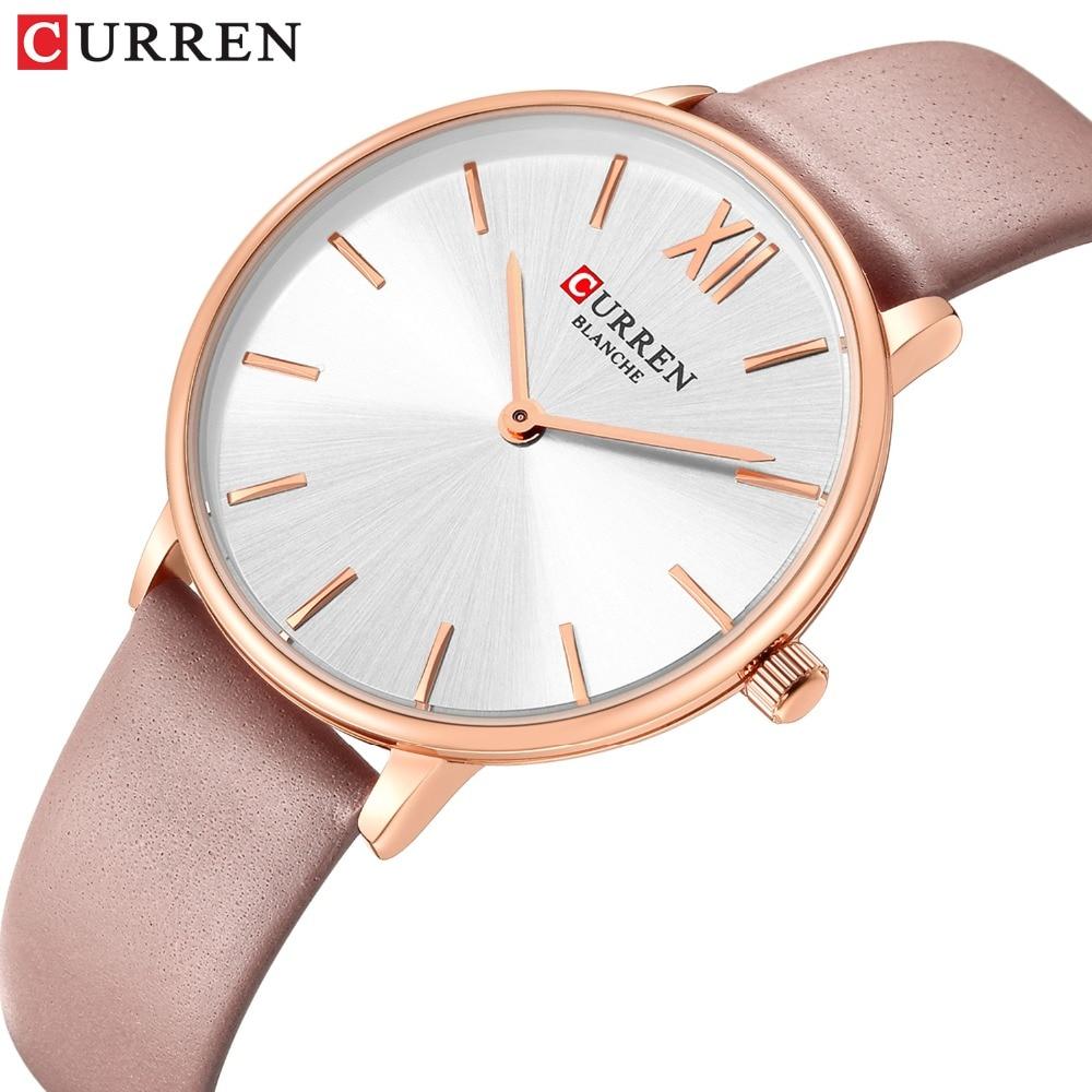2019 New Leather Watches Women Luxury Brand CURREN Fashion Quartz Female Wrist Watch Dress Ladies Elegant Watch Reloj Mujer